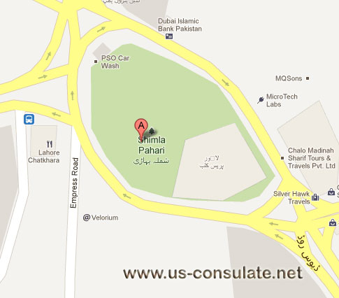 map US Consulate: Lahore