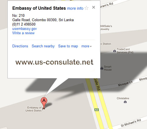 map US Embassy Sri Lanka