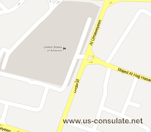 map US Embassy in Jordan