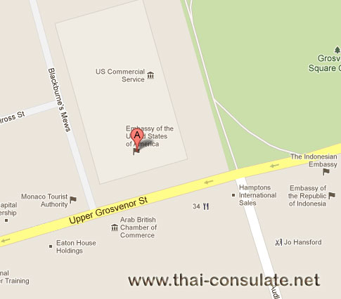 map US Embassy in London