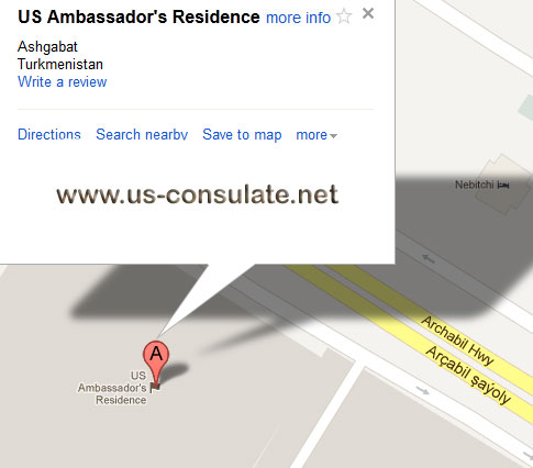 map US Embassy in Turkmenistan