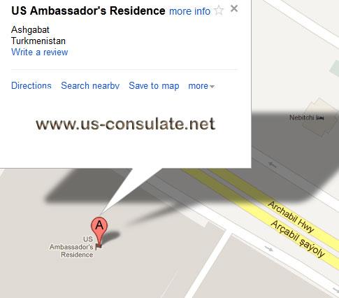 map US Embassy in Turkmenistan